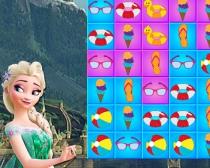 Эльза Летнее совпадение игра три в ряд найди пару про девочку Эльзу Elsa Summer Match