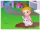 Девочка Хазель заботится о кролике baby hazel pet care