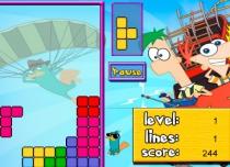 Тетрис Финеса и Ферба стилизованная головоломка тетрис игра Phineas and Ferb Tetris