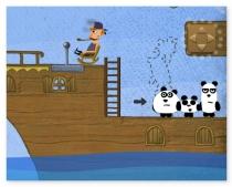 Три Панды побег с пиратского корабля бродилка игра 3 Pandas
