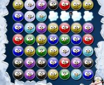 Три пингвина Троица цветные птички шарики по три в ряд игра Trois