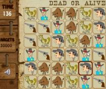 Разыскивается живым или мертвым пазл три в ряд совпадения игра Wanted Dead or Alive Match 3